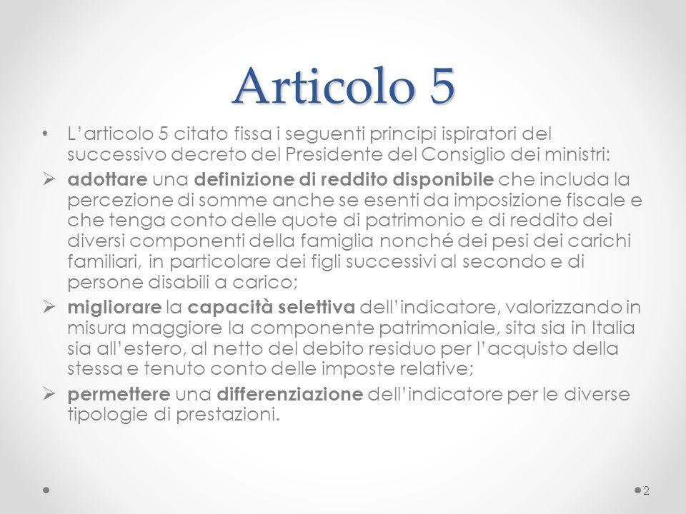 I carichi familiari L'articolo 5 della Legge Salva- Italia indica la volontà di intervenire sui pesi dei carichi di famiglia e cioè di favorire le famiglie numerose e quelle in cui sia presente una persona con disabilità.
