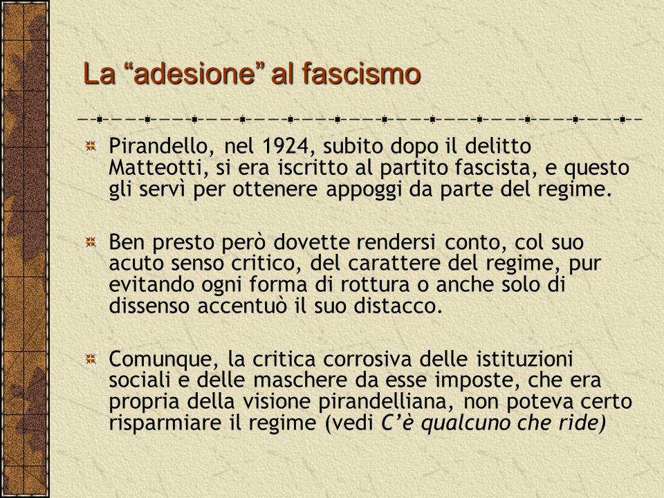 """La """"adesione"""" al fascismo Pirandello, nel 1924, subito dopo il delitto Matteotti, si era iscritto al partito fascista, e questo gli servì per ottenere"""