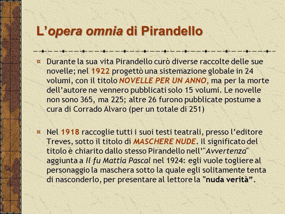 L'opera omnia di Pirandello Durante la sua vita Pirandello curò diverse raccolte delle sue novelle; nel 1922 progettò una sistemazione globale in 24 v