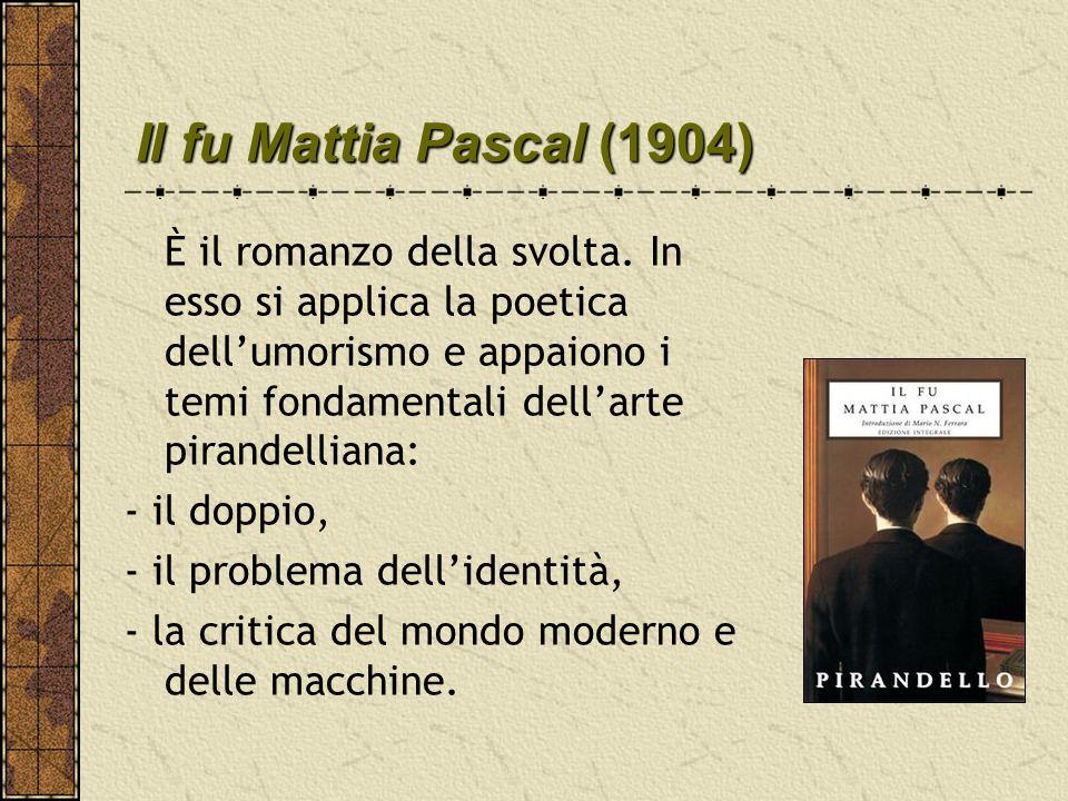 Il fu Mattia Pascal(1904) Il fu Mattia Pascal (1904) È il romanzo della svolta. In esso si applica la poetica dell'umorismo e appaiono i temi fondamen