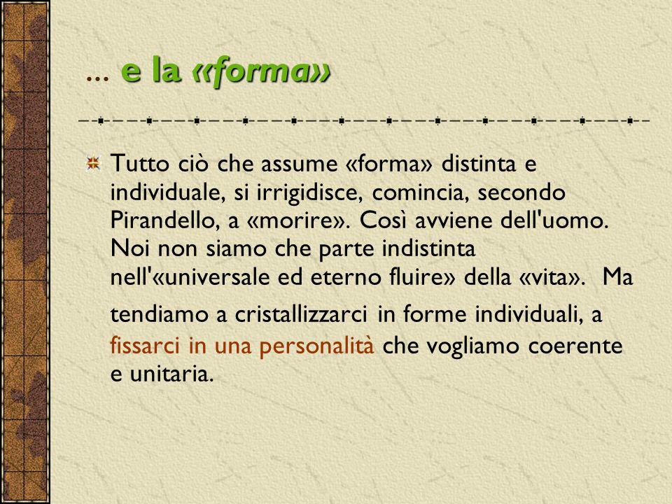e la «forma»... e la «forma» Tutto ciò che assume «forma» distinta e individuale, si irrigidisce, comincia, secondo Pirandello, a «morire». Così avvie