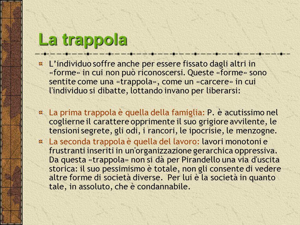La trappola L'individuo soffre anche per essere fissato dagli altri in «forme» in cui non può riconoscersi. Queste «forme» sono sentite come una «trap
