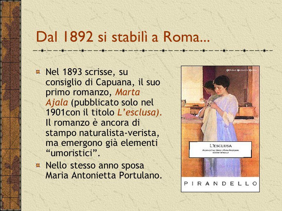 Dal 1892 si stabilì a Roma... Nel 1893 scrisse, su consiglio di Capuana, il suo primo romanzo, Marta Ajala (pubblicato solo nel 1901con il titolo L'es