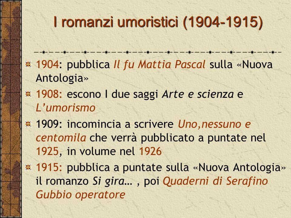 I romanzi umoristici(1904-1915) I romanzi umoristici (1904-1915) 1904: pubblica Il fu Mattia Pascal sulla «Nuova Antologia» 1908: escono I due saggi A