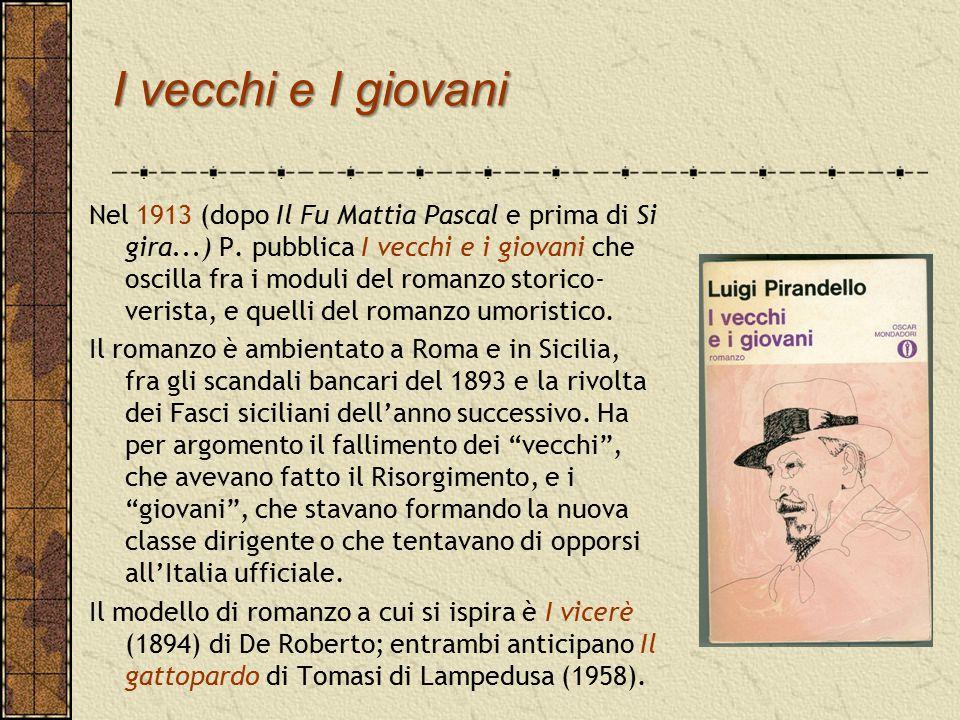 Il teatro dell'umorismo (1916-1925) IL PRIMO CONTATTO di Pirandello con il teatro avvenne nel 1910 con La morsa e Lumie di Sicilia: atti unici ancora dipendenti dal dramma borghese.