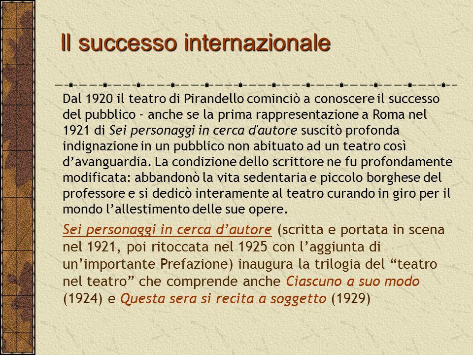 Il successo internazionale Dal 1920 il teatro di Pirandello cominciò a conoscere il successo del pubblico - anche se la prima rappresentazione a Roma