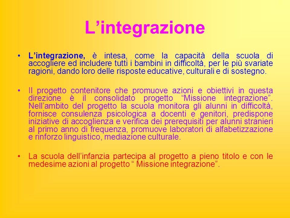 L'integrazione L'integrazione, è intesa, come la capacità della scuola di accogliere ed includere tutti i bambini in difficoltà, per le più svariate ragioni, dando loro delle risposte educative, culturali e di sostegno.
