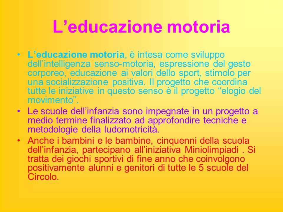 L'educazione motoria L'educazione motoria, è intesa come sviluppo dell'intelligenza senso-motoria, espressione del gesto corporeo, educazione ai valori dello sport, stimolo per una socializzazione positiva.