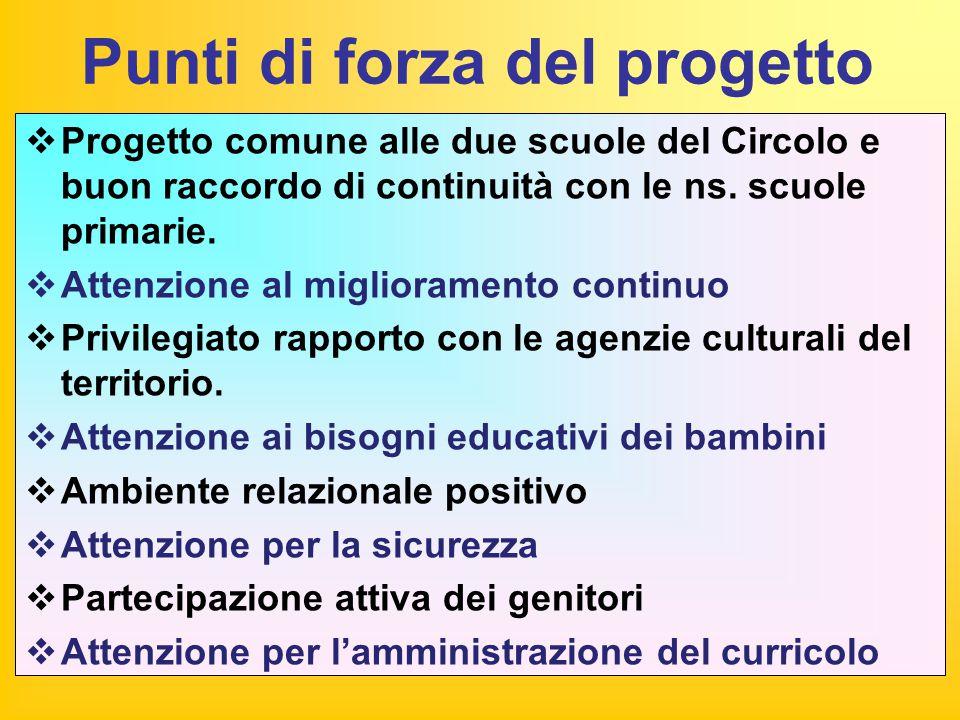 Punti di forza del progetto  Progetto comune alle due scuole del Circolo e buon raccordo di continuità con le ns. scuole primarie.  Attenzione al mi