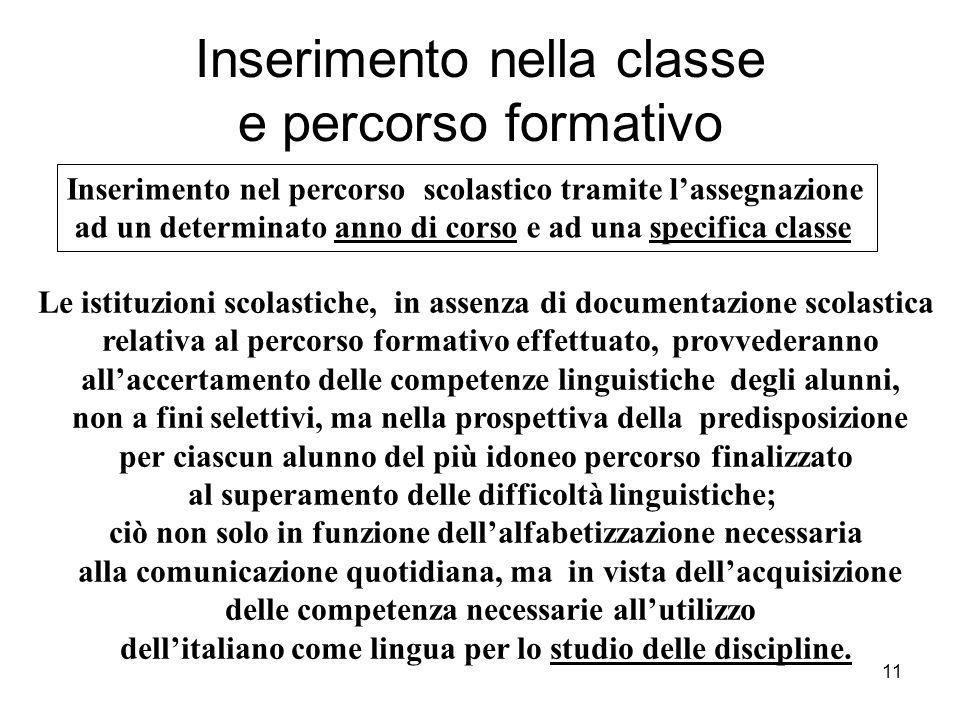 11 Inserimento nella classe e percorso formativo Inserimento nel percorso scolastico tramite l'assegnazione ad un determinato anno di corso e ad una s