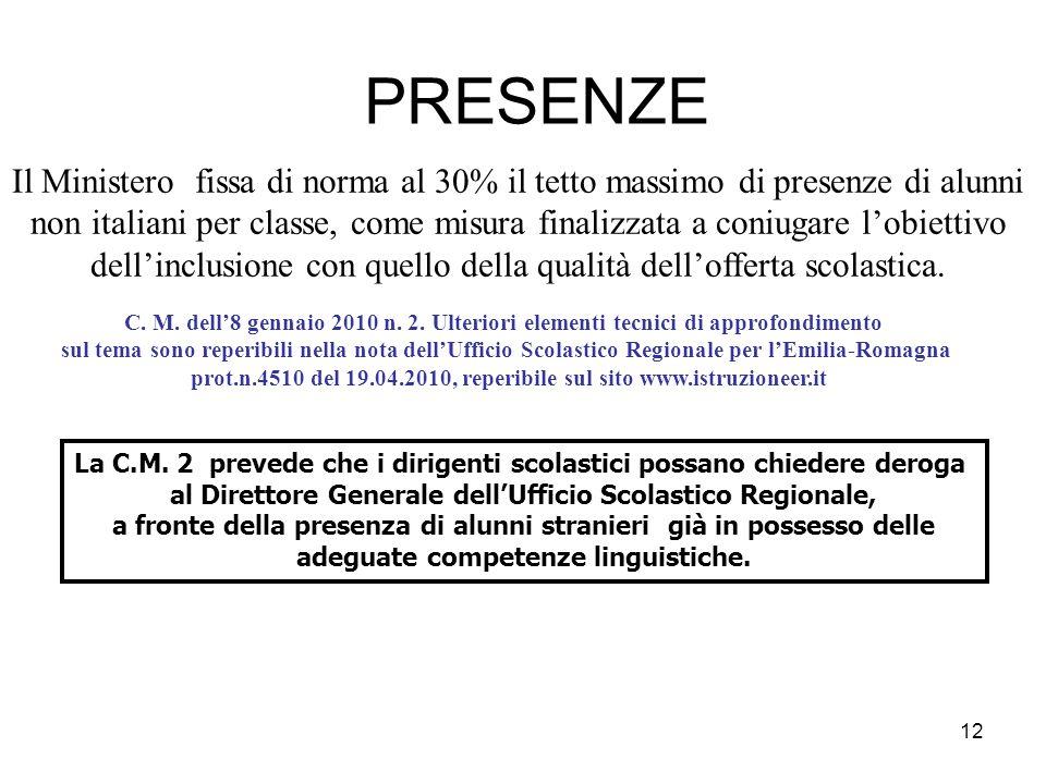 12 PRESENZE Il Ministero fissa di norma al 30% il tetto massimo di presenze di alunni non italiani per classe, come misura finalizzata a coniugare l'o