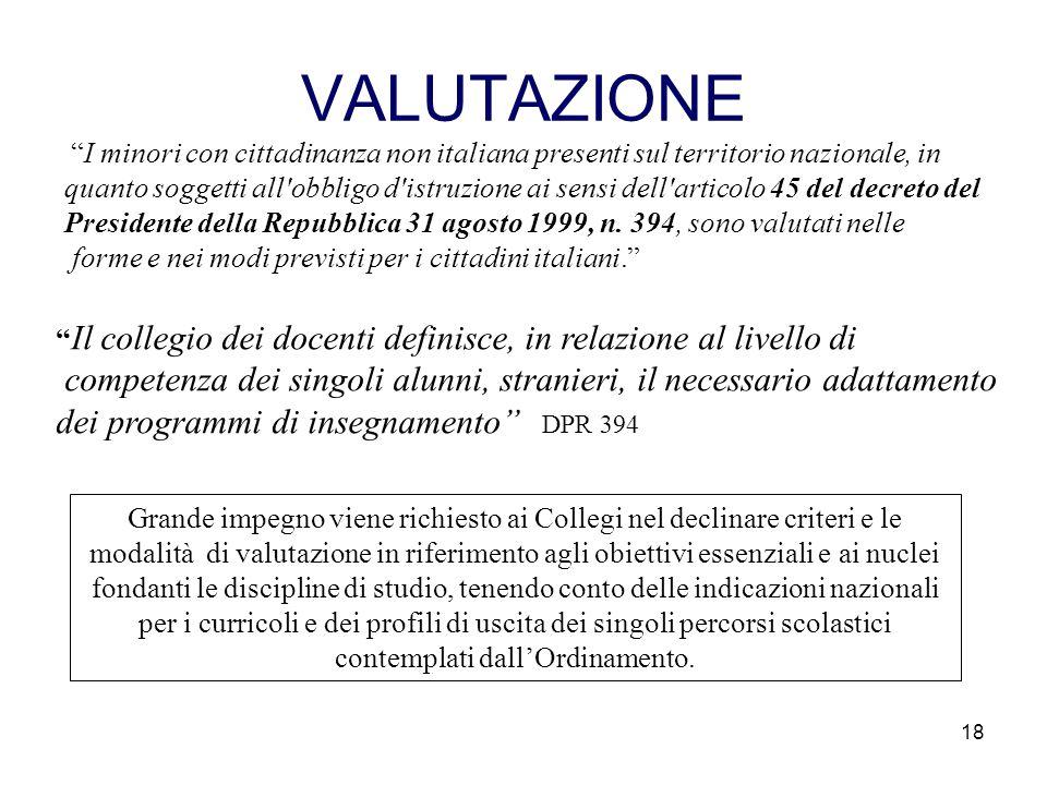 """18 VALUTAZIONE """"I minori con cittadinanza non italiana presenti sul territorio nazionale, in quanto soggetti all'obbligo d'istruzione ai sensi dell'ar"""