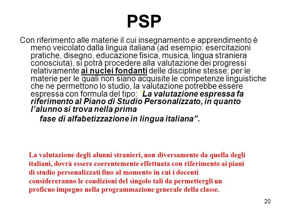 20 PSP Con riferimento alle materie il cui insegnamento e apprendimento è meno veicolato dalla lingua italiana (ad esempio: esercitazioni pratiche, di