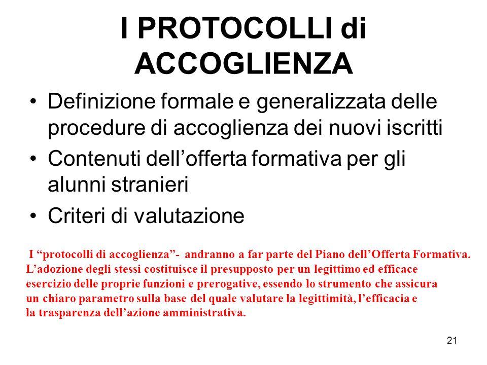 21 I PROTOCOLLI di ACCOGLIENZA Definizione formale e generalizzata delle procedure di accoglienza dei nuovi iscritti Contenuti dell'offerta formativa