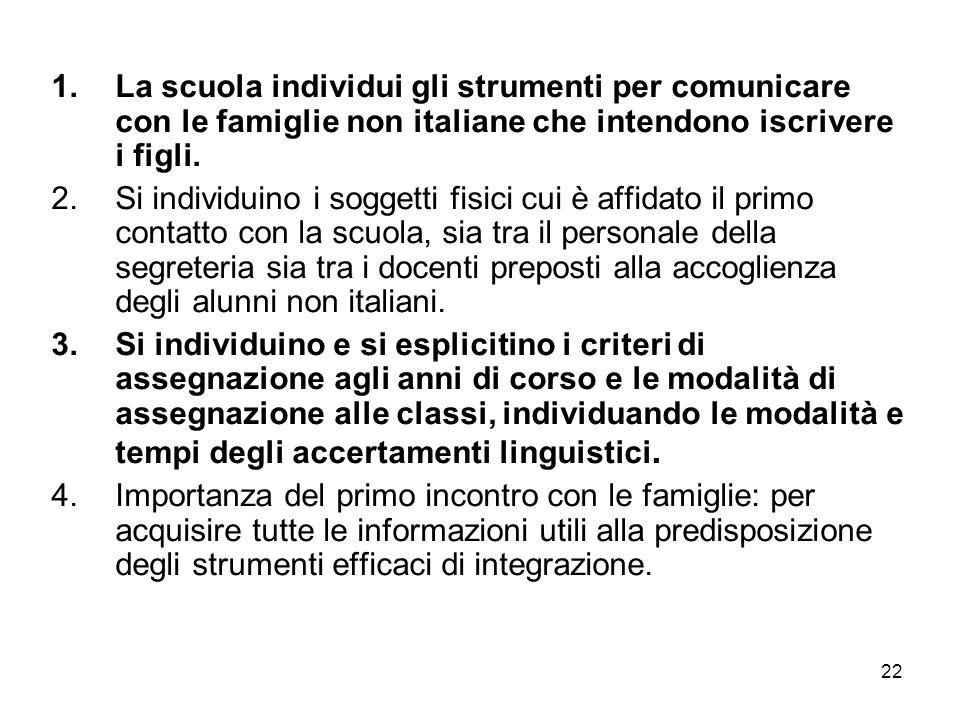 22 1.La scuola individui gli strumenti per comunicare con le famiglie non italiane che intendono iscrivere i figli. 2.Si individuino i soggetti fisici
