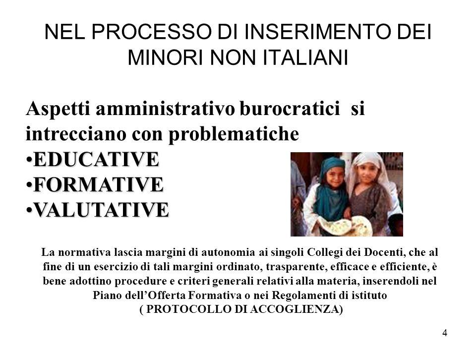 4 NEL PROCESSO DI INSERIMENTO DEI MINORI NON ITALIANI Aspetti amministrativo burocratici si intrecciano con problematiche EDUCATIVEEDUCATIVE FORMATIVE