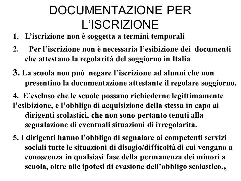 5 DOCUMENTAZIONE PER L'ISCRIZIONE 1.L'iscrizione non è soggetta a termini temporali 2. Per l'iscrizione non è necessaria l'esibizione dei documenti ch