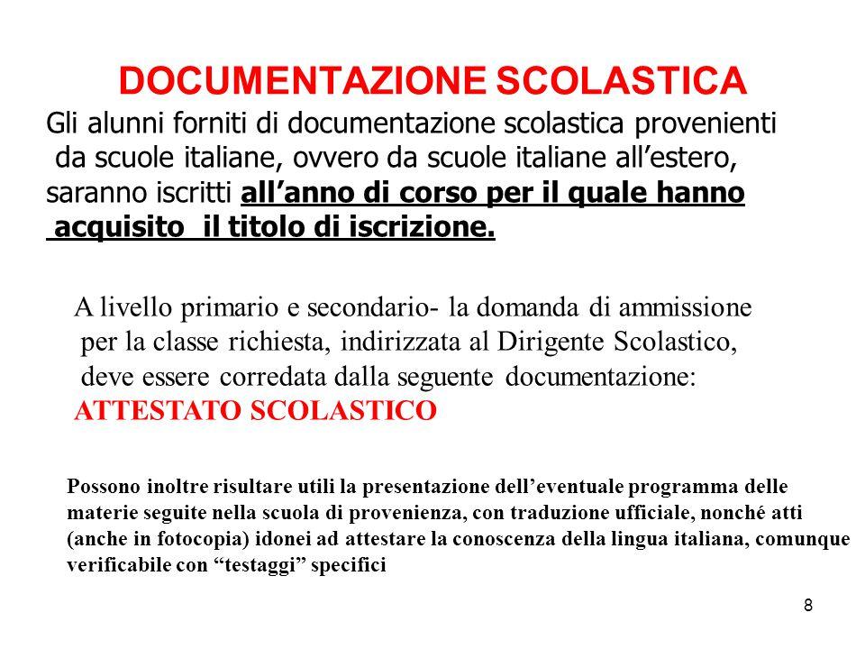 8 DOCUMENTAZIONE SCOLASTICA Gli alunni forniti di documentazione scolastica provenienti da scuole italiane, ovvero da scuole italiane all'estero, sara