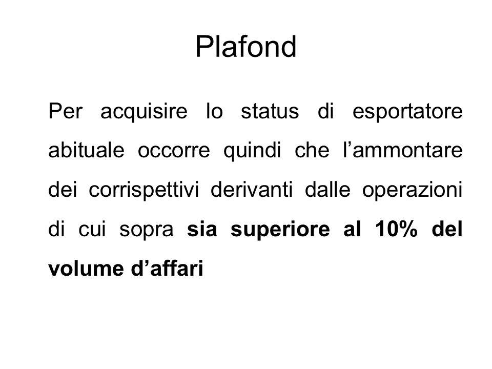 Plafond Per acquisire lo status di esportatore abituale occorre quindi che l'ammontare dei corrispettivi derivanti dalle operazioni di cui sopra sia s