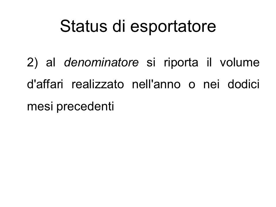 Status di esportatore 2) al denominatore si riporta il volume d'affari realizzato nell'anno o nei dodici mesi precedenti
