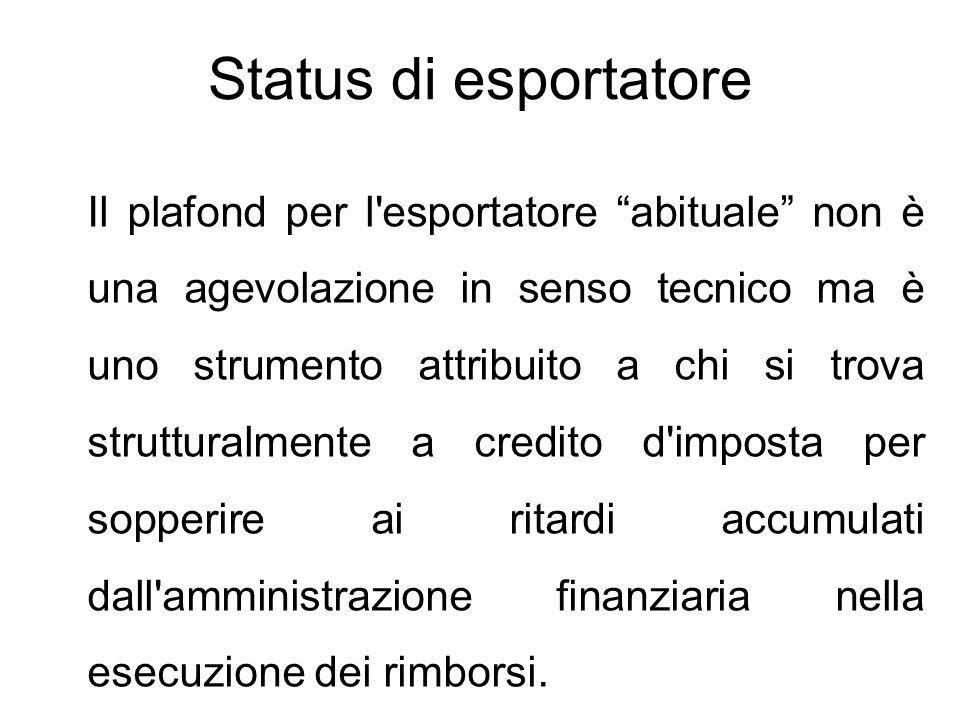 """Status di esportatore Il plafond per l'esportatore """"abituale"""" non è una agevolazione in senso tecnico ma è uno strumento attribuito a chi si trova str"""