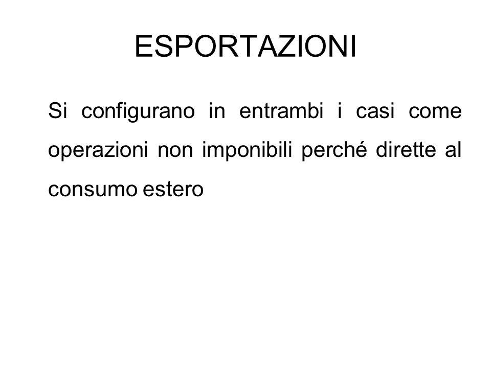 ESPORTAZIONI Le esportazioni vengono variamente qualificate.