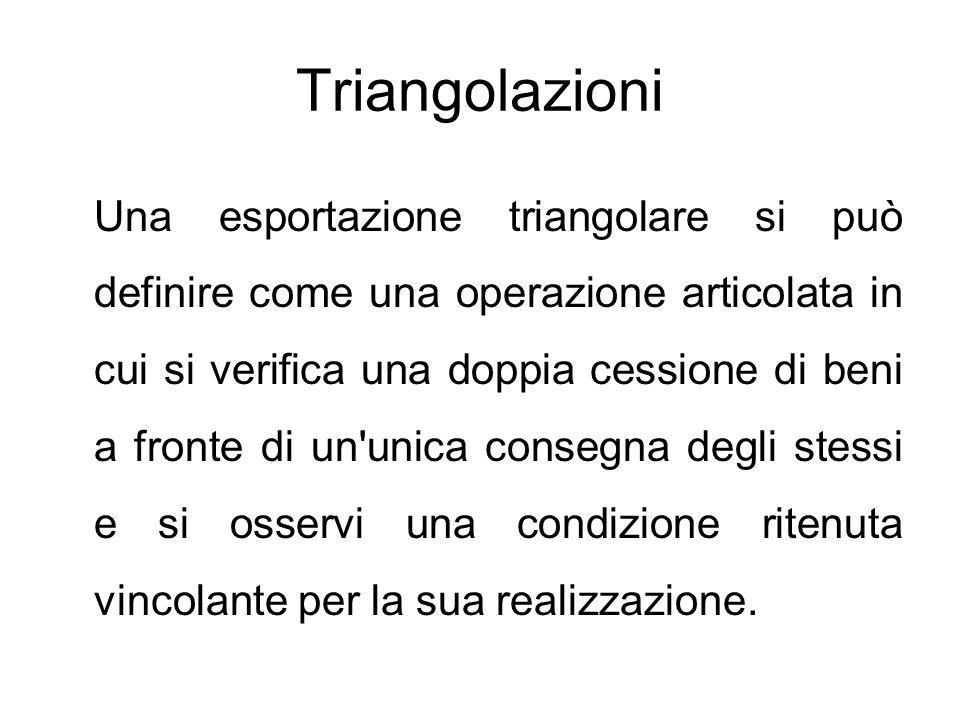 Triangolazioni Una esportazione triangolare si può definire come una operazione articolata in cui si verifica una doppia cessione di beni a fronte di