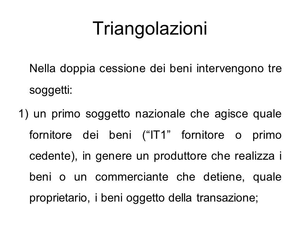 """Triangolazioni Nella doppia cessione dei beni intervengono tre soggetti: 1) un primo soggetto nazionale che agisce quale fornitore dei beni (""""IT1"""" for"""