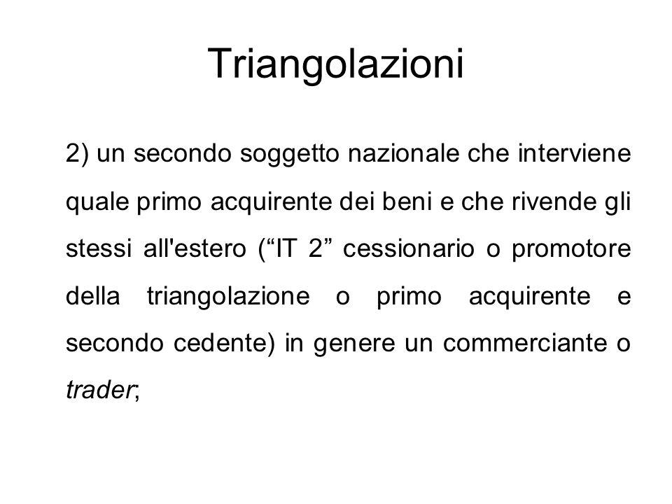 """Triangolazioni 2) un secondo soggetto nazionale che interviene quale primo acquirente dei beni e che rivende gli stessi all'estero (""""IT 2"""" cessionario"""