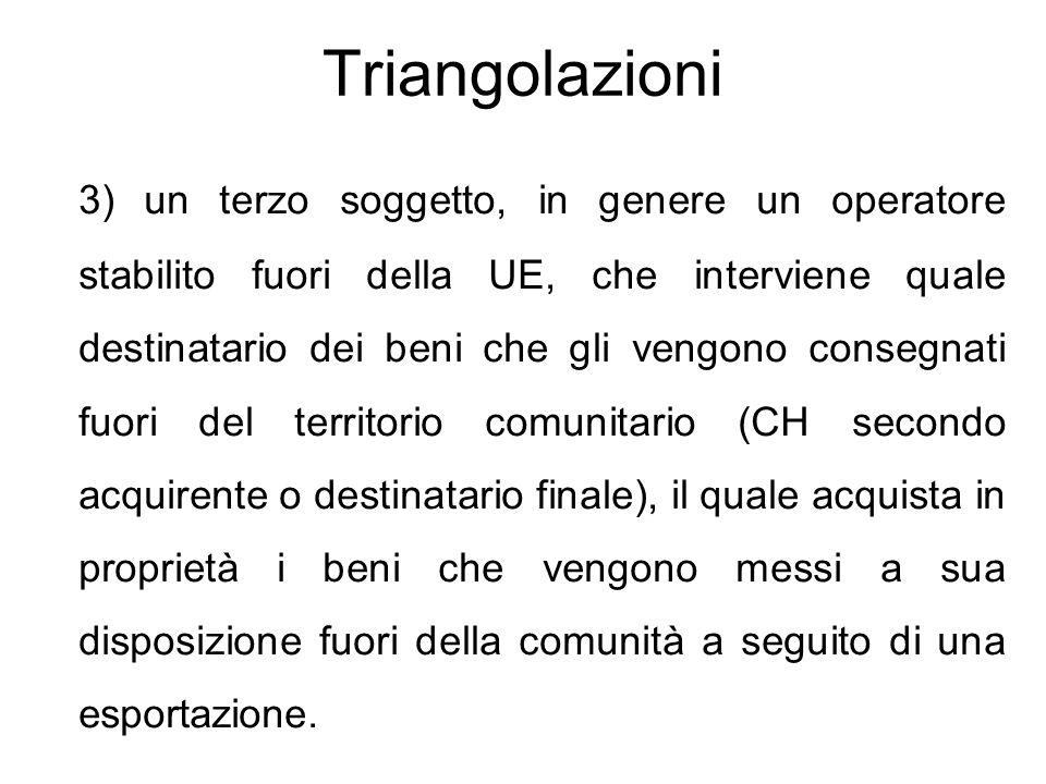 Triangolazioni 3) un terzo soggetto, in genere un operatore stabilito fuori della UE, che interviene quale destinatario dei beni che gli vengono conse