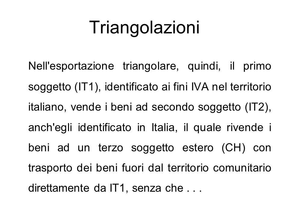 Triangolazioni Nell'esportazione triangolare, quindi, il primo soggetto (IT1), identificato ai fini IVA nel territorio italiano, vende i beni ad secon