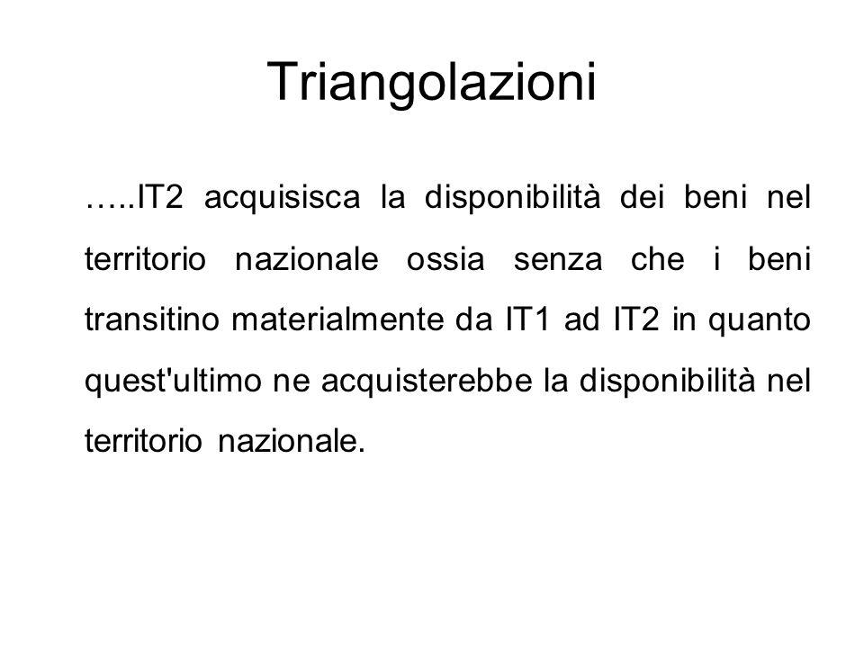 Triangolazioni …..IT2 acquisisca la disponibilità dei beni nel territorio nazionale ossia senza che i beni transitino materialmente da IT1 ad IT2 in q