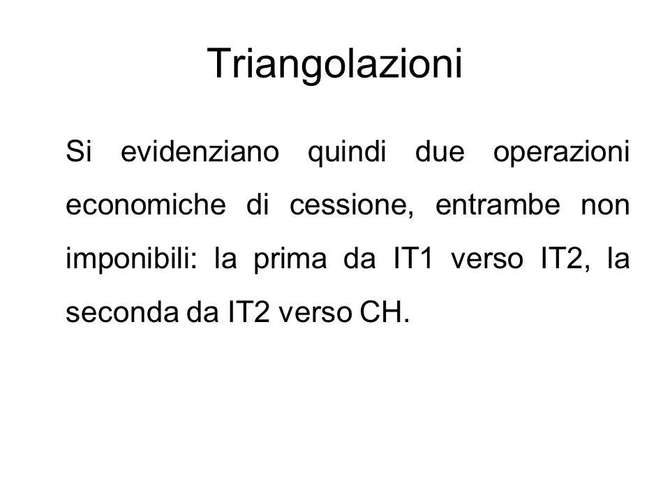 Triangolazioni Si evidenziano quindi due operazioni economiche di cessione, entrambe non imponibili: la prima da IT1 verso IT2, la seconda da IT2 vers