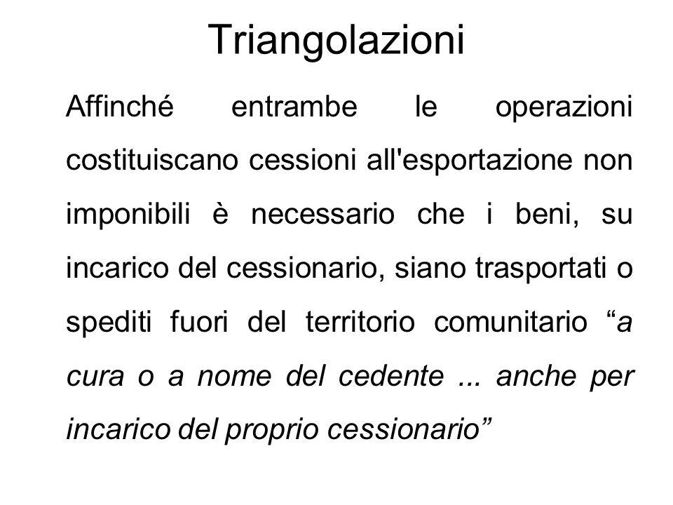 Triangolazioni Affinché entrambe le operazioni costituiscano cessioni all'esportazione non imponibili è necessario che i beni, su incarico del cession