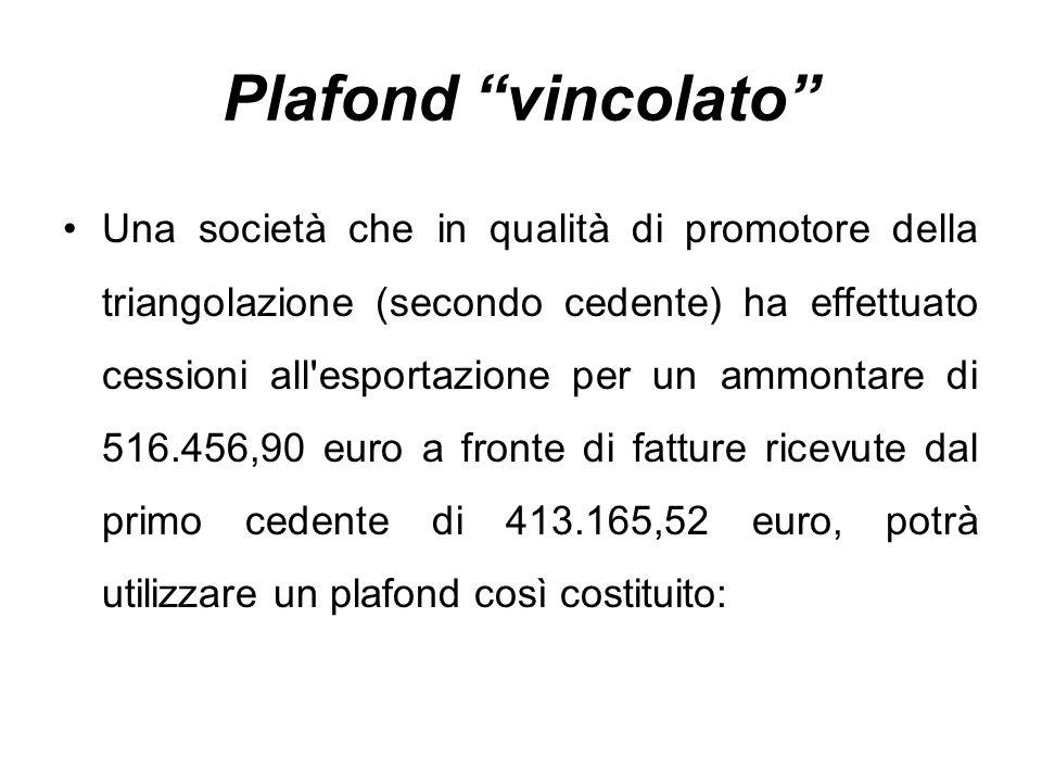 """Plafond """"vincolato"""" Una società che in qualità di promotore della triangolazione (secondo cedente) ha effettuato cessioni all'esportazione per un ammo"""