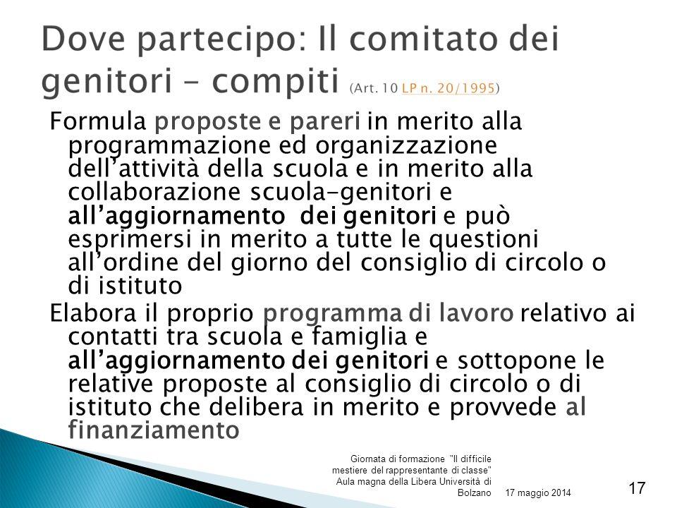 Formula proposte e pareri in merito alla programmazione ed organizzazione dell'attività della scuola e in merito alla collaborazione scuola-genitori e