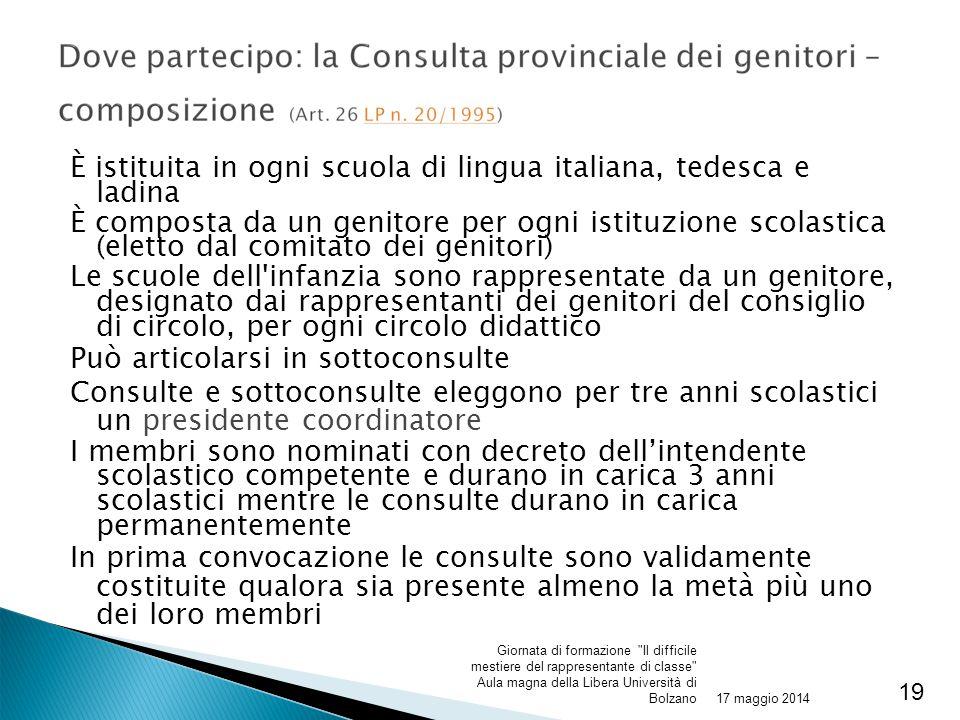 È istituita in ogni scuola di lingua italiana, tedesca e ladina È composta da un genitore per ogni istituzione scolastica (eletto dal comitato dei gen