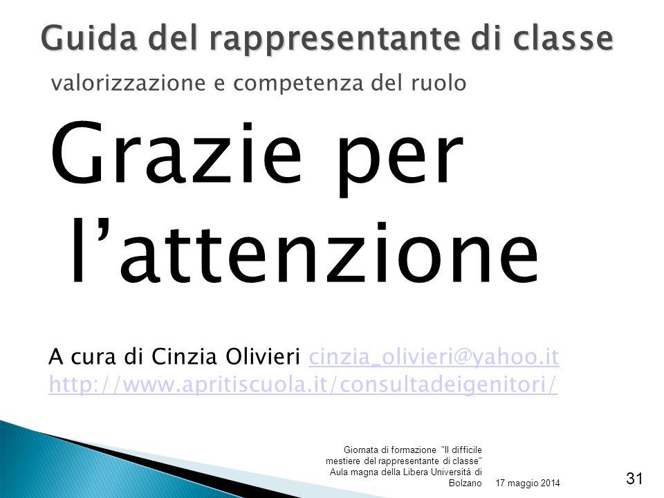 Grazie per l'attenzione A cura di Cinzia Olivieri cinzia_olivieri@yahoo.itcinzia_olivieri@yahoo.it http://www.apritiscuola.it/consultadeigenitori/ 17