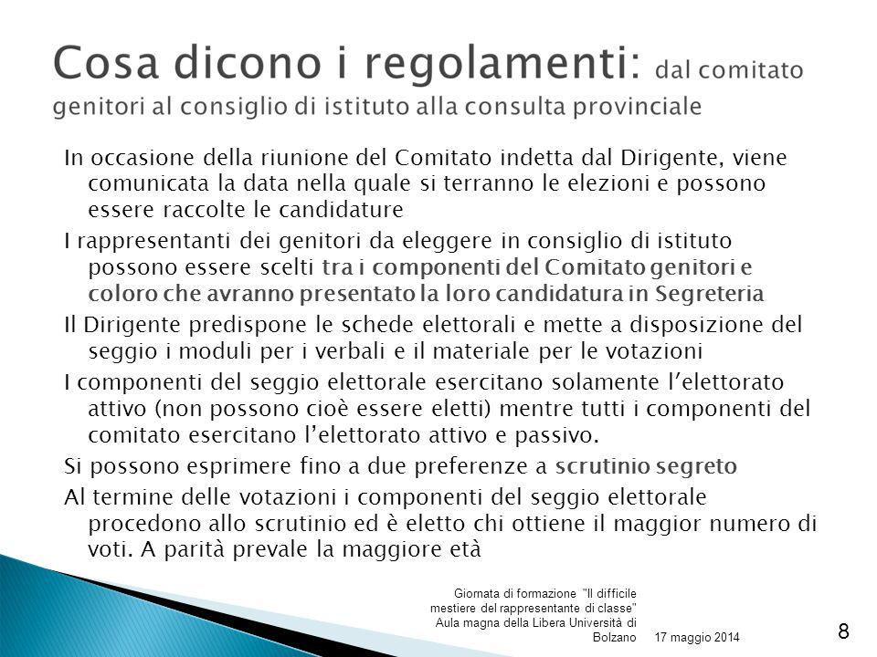 In occasione della riunione del Comitato indetta dal Dirigente, viene comunicata la data nella quale si terranno le elezioni e possono essere raccolte