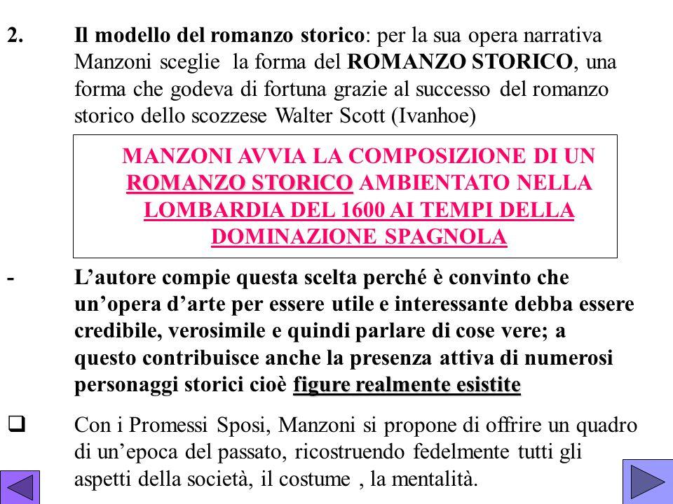 2.Il modello del romanzo storico: per la sua opera narrativa Manzoni sceglie la forma del ROMANZO STORICO, una forma che godeva di fortuna grazie al s