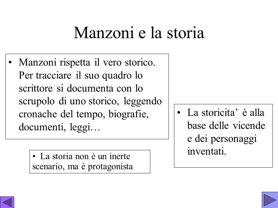 Manzoni e la storia Manzoni rispetta il vero storico. Per tracciare il suo quadro lo scrittore si documenta con lo scrupolo di uno storico, leggendo c