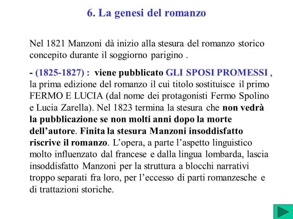 6. La genesi del romanzo Nel 1821 Manzoni dà inizio alla stesura del romanzo storico concepito durante il soggiorno parigino. - (1825-1827) : viene pu