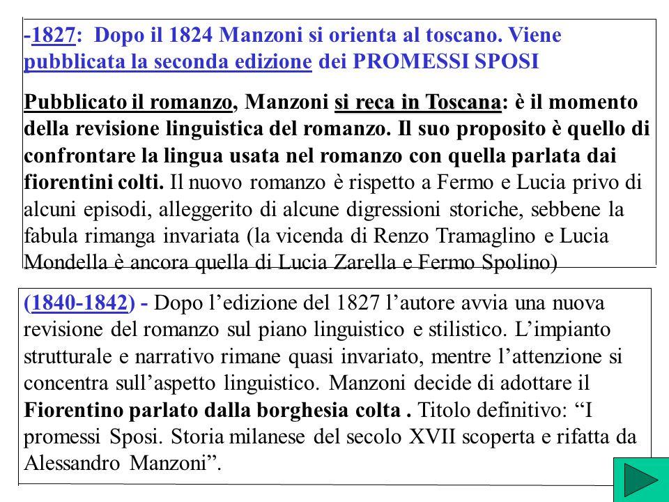 -1827: Dopo il 1824 Manzoni si orienta al toscano. Viene pubblicata la seconda edizione dei PROMESSI SPOSI si reca in Toscana Pubblicato il romanzo, M