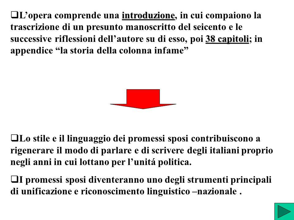 introduzione 38 capitoli  L'opera comprende una introduzione, in cui compaiono la trascrizione di un presunto manoscritto del seicento e le successiv