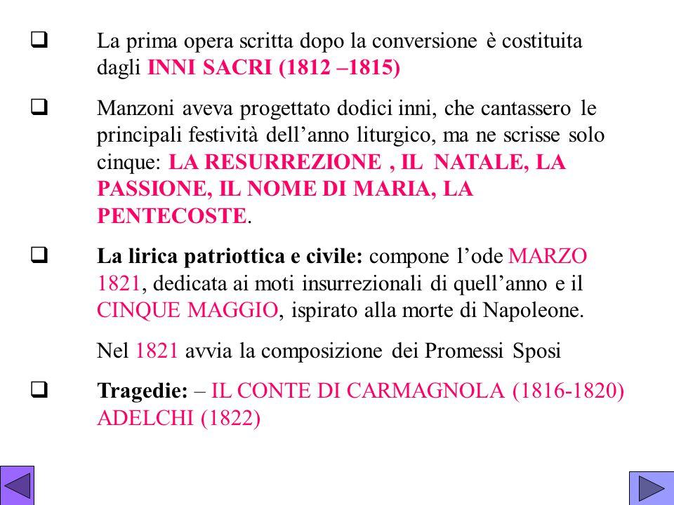  La prima opera scritta dopo la conversione è costituita dagli INNI SACRI (1812 –1815)  Manzoni aveva progettato dodici inni, che cantassero le prin