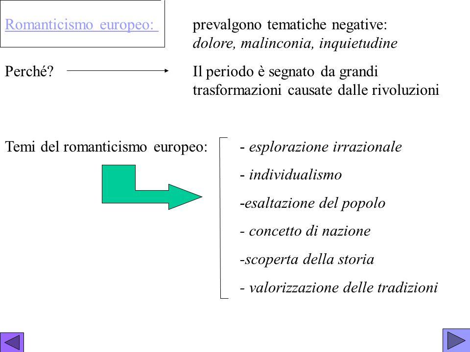 Romanticismo italiano La letteratura nasce da forti sentimenti.