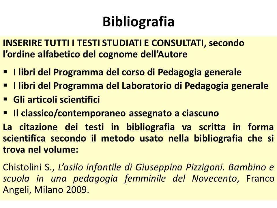 Bibliografia INSERIRE TUTTI I TESTI STUDIATI E CONSULTATI, secondo l'ordine alfabetico del cognome dell'Autore  I libri del Programma del corso di Pe