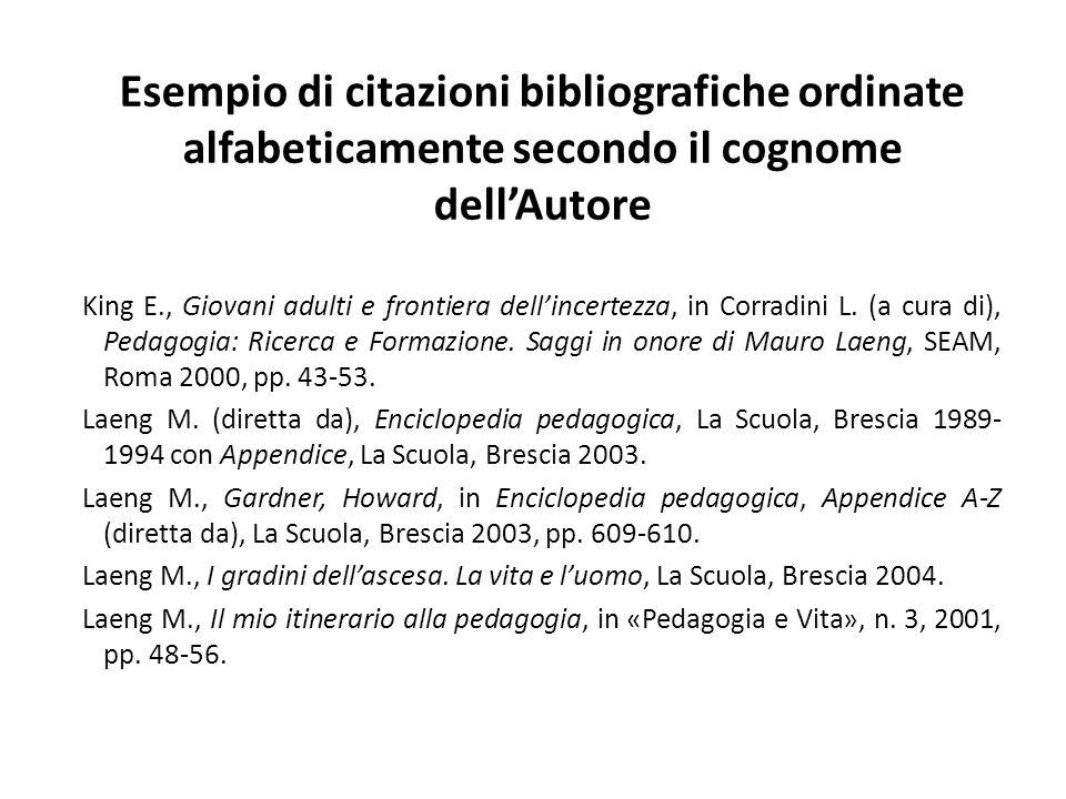 Esempio di citazioni bibliografiche ordinate alfabeticamente secondo il cognome dell'Autore King E., Giovani adulti e frontiera dell'incertezza, in Co