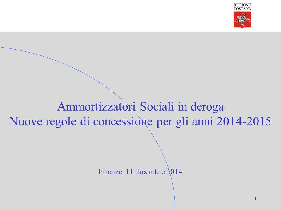 1 Ammortizzatori Sociali in deroga Nuove regole di concessione per gli anni 2014-2015 Firenze, 11 dicembre 2014