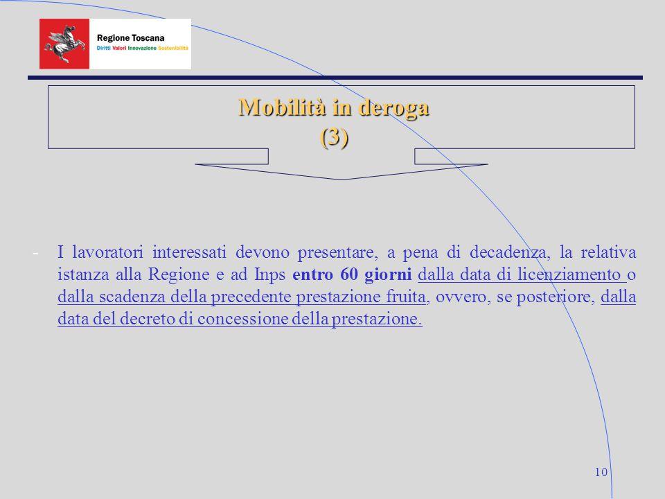 10 Mobilità in deroga (3) -I lavoratori interessati devono presentare, a pena di decadenza, la relativa istanza alla Regione e ad Inps entro 60 giorni